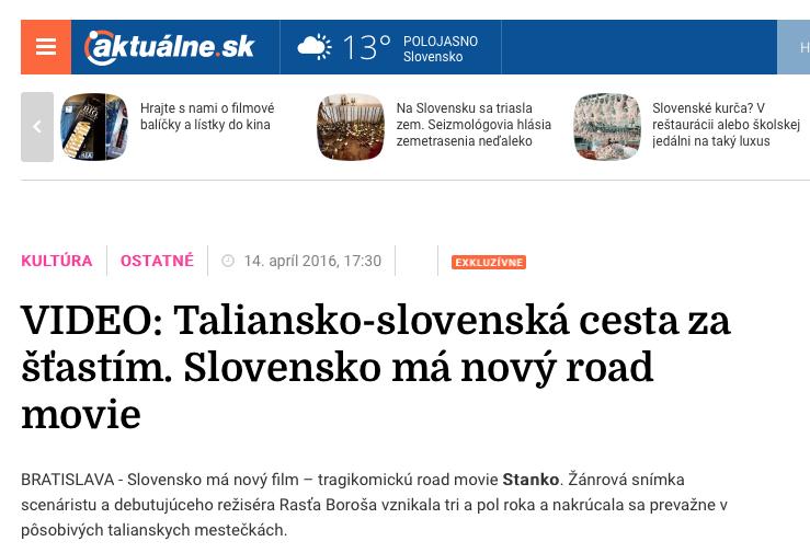 VIDEO: Taliansko-slovenská cesta za šťastím. Slovensko má nový road movie